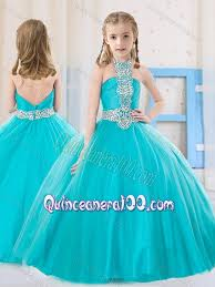 sweet ball gown halter beading aqua blue mini quinceanera dress in