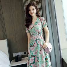 korean fashion 2017 women summer v neck vintage boho long print