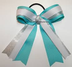 silver boxes with bows on top turquoise white silver ponytail holder bow teal cheer bow aqua