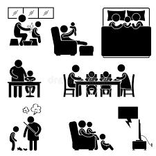 pictogramme chambre activité de famille au pictogramme de maison de chambre illustration
