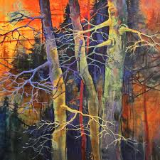 colorful contemporary landscape small aspen tree art twilight dance mini by colorado mixed a abstract artist nelson nelson