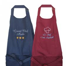 tablier de cuisine personnalisable tablier de cuisine personnalisé avec prénom brodé amikado