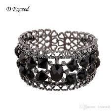 black bracelet women images Retro gun black bracelet bangle black acrylic stone carved heart jpg