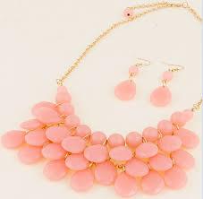 light pink necklace images Cute light pink teardrop bubble bib necklace earrings set jpg