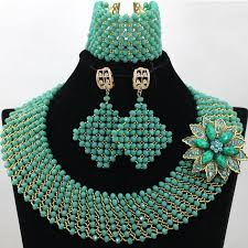 bridal beads necklace images Latest style handmade teal green beads african beads jewelry sets jpg
