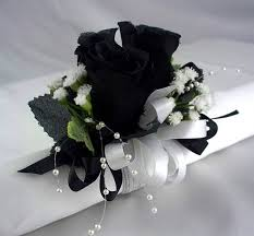 white and black corsage wrist corsage bracelet black and