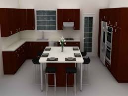 White Island Kitchen Kitchen Room White Porcelain Floor White Stain Wall Varnished