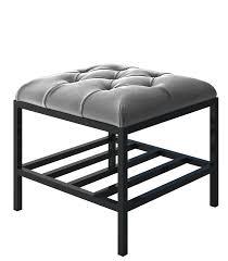 Black Velvet Tufted Bench Luxury Gray Velvet Contemporary Bench Accent Bench Modern