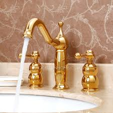 antique gold brass three split bathroom faucet