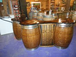 Whiskey Barrel Kitchen Table Wine Barrel Bar Table With A 13l Ice Bucket Cut Into The Top Of