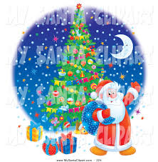 santa claus with christmas tree and gifts clipart clipartxtras