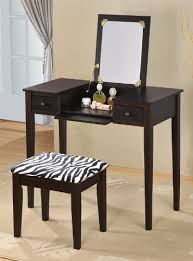 amazon com contemporary vanity set with flip mirror top and zebra