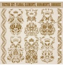 set of damask ornaments royalty free vector image