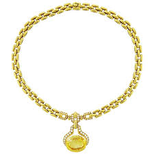 yellow sapphire necklace images Cartier sapphire diamond platinum lorgnette circa 1920s for sale jpg