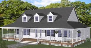 Single Story Farmhouse Plans With Such Features As A Wraparound Front Porch And Small Gabled