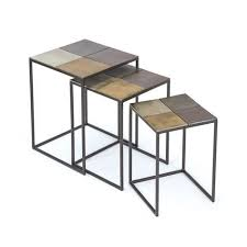 Zable Side Table Modish Set Of Three Costello Nesting Tables Home Nesting Tables