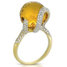 citrine engagement rings citrine and pave diamond ring vanna k 1085