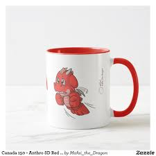 canada 150 anthro sd red dragon cartoon mug dragons