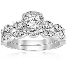 white gold wedding ring sets 7 8 cttw cushion halo diamond engagement wedding ring set 14k