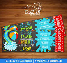 printable pool chalkboard birthday invitation water park