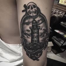 shin tatoos thunder lighthouse realistic tattoo best tattoo ideas gallery