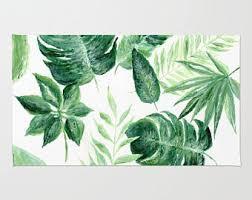 Leaf Area Rug Palm Leaf Area Rug Palm Leaves Rug Modern Area Rug Tropical