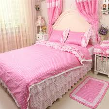 4pcs set 100 cotton princess bedding set pink dot ruffle duvet