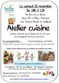 atelier cuisine enfants familles rurales le bailleul atelier cuisine enfants