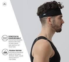 mens headband mens sports headband black elastic stretchy athletes workout