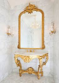 Gold Vanity Mirror Bathroom Ideas Gold Carved Framed Bathroom Wall Mirrors Above