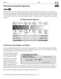 electromagnetic wave worksheet worksheets