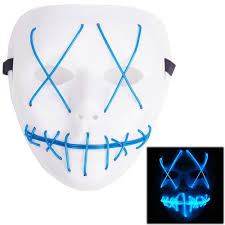 mask halloween cosplay led costume mask el wire light up mask for