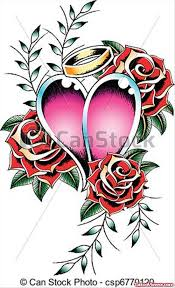 gothic rose flowers and angel heart tattoo design tattoo viewer com