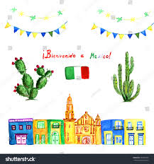 Mexican Party Flags Watercolor Set Green Mexican Cactus Colorful Stock Vektorgrafik