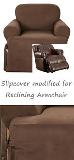 chair slipcovers t cushion reclining chair slipcover t cushion suede chocolate sure fit armchair