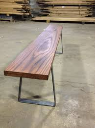 metal bench legs paired with reclaimed oak