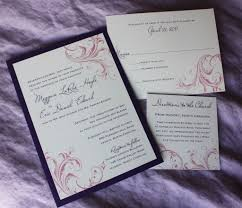 Single Card Wedding Invitations Purple And Pink Swirl Wedding Invitations Emdotzee Designs