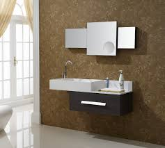 white rectangle washbasin on dark brown small floating vanity with