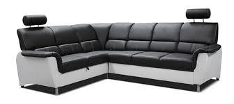 canap angle 220 cm canapé d angle à gauche convertible matador blanc noir