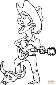 cowboy singing and playing guitar coloring page free printable