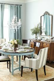 Blue Leather Dining Chairs by Kitchen Crystal Chandeliers Decorative Mirror Wooden Storage