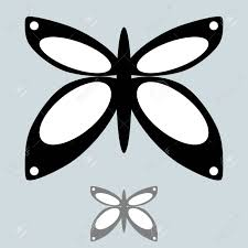 the black and grey butterfly in the simple style it is set icons