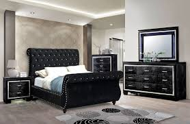 black sleigh bedroom set black fabric crystal tufted sleigh bed