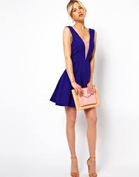plunge dress asos plunge mesh insert skater dress in purple lyst