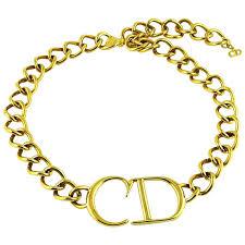 Gold Monogram Bracelet Christian Dior Gold Cd Monogram Necklace At 1stdibs