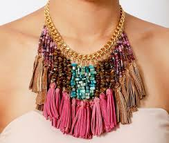 pink leather necklace images Colorful beaded tassel necklace beaded bib necklace pink leather jpg