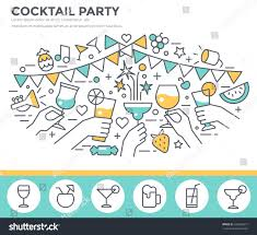 Cocktail Party Invitation Card Cocktail Party Invitation Concept Template Hands Stock Vector