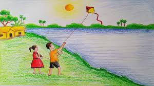 how to draw scenery of kite flying step by step very easy youtube