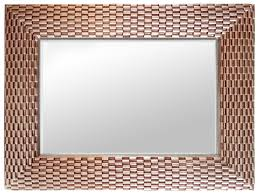 rose gold weave large rectangle wall mirror selections by chaumont
