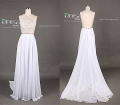 white wedding dress with gold beading 16 white high neck gold beading open back a line flowy